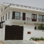 Front facdade of a residence at Sushant Lok, Phase-I